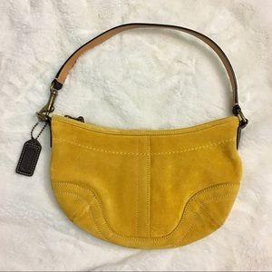 Yellow suede coach mini hobo bag